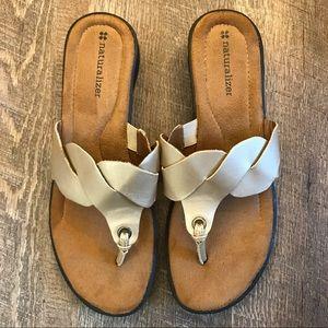 Naturalizer Slip On Gold Braid Slip On Sandals 10M